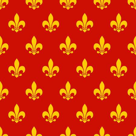 lys: Fleur de lys seamless pattern. Endless vector background Illustration