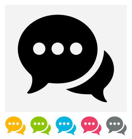 speech icon: Chat icon isolated on gray and white
