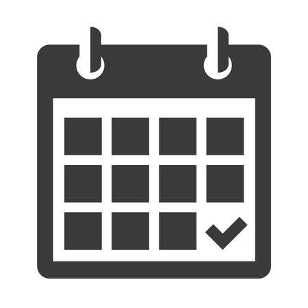calendario: Calendario icono negro sobre blanco, aislados