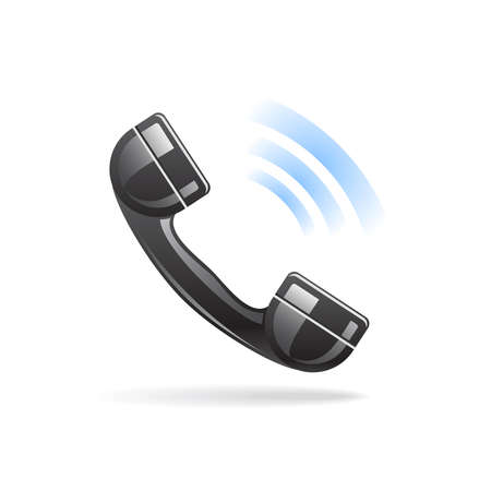 Shiny calling phone icon with shadow on white background