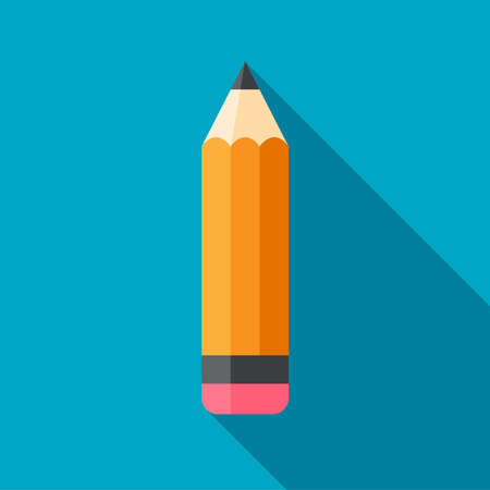 minimalistic: Wooden pencil with eraser on aqua blue background. Flat design pencil icon