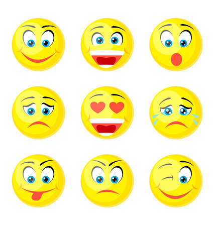 tease: yellow smile icons isolated on white Illustration
