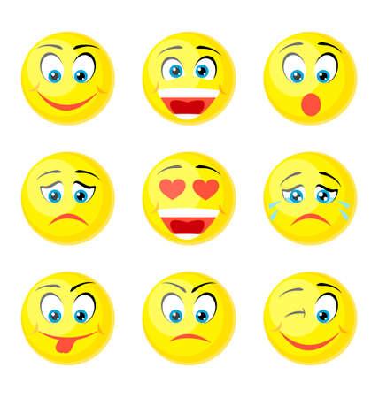 white smile: yellow smile icons isolated on white Illustration