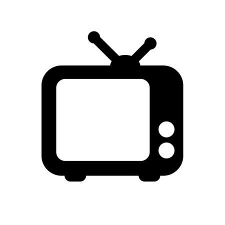 black tv icon isolated on white