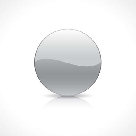 silver reflection: Shiny round silver button template on reflection plate