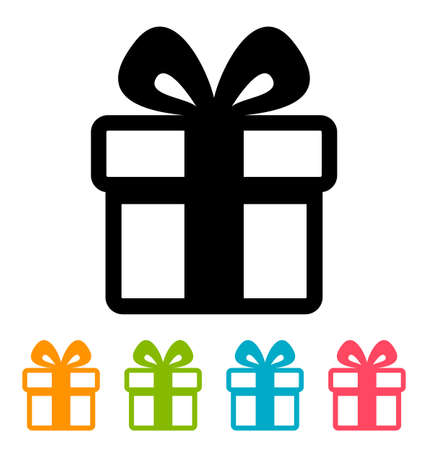 clipart: Gift box icon isolated on white