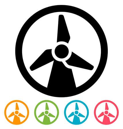 turbine: Round wind turbine icon isolated on white