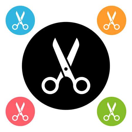 scissors icon: Round scissors icon isolated on white Illustration