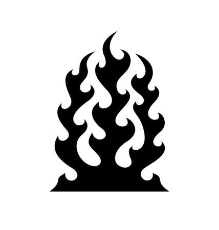 fire symbol: Black fire flame symbol isolated on white