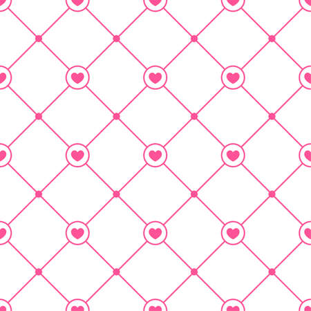 Vector geometric seamless pattern with hearts