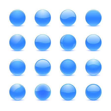 Blank blue round buttons for website or app Illustration