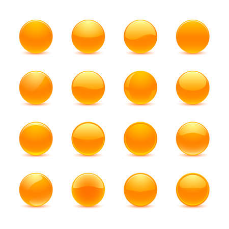 Blank orange round buttons for website or app Illustration