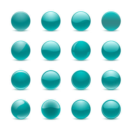 website buttons: Blank teal round buttons for website or app