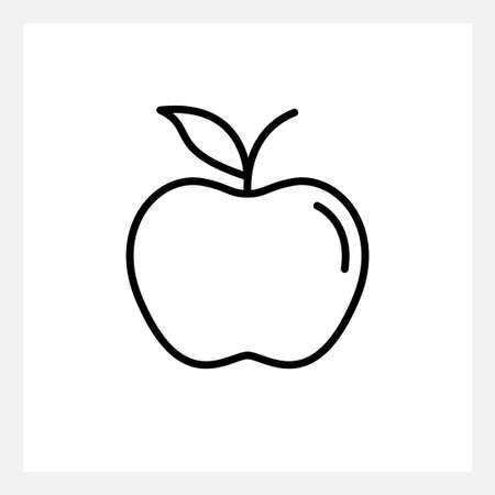 Outline vector apple icon isolated on white Illustration