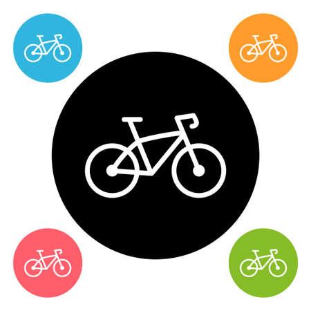 Round bike icon isolated on white Illustration