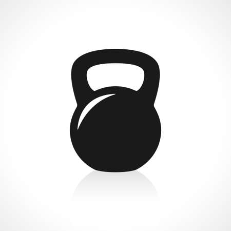 exercise equipment: Black kettlebell icon with reflection on gray background