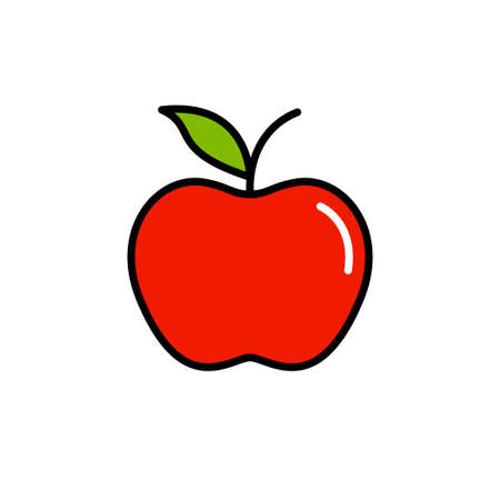 Red vector apple icon isolated on white