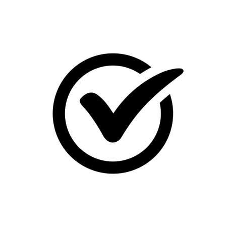 Check-Symbol Vektor-Symbol isoliert auf weißem Hintergrund
