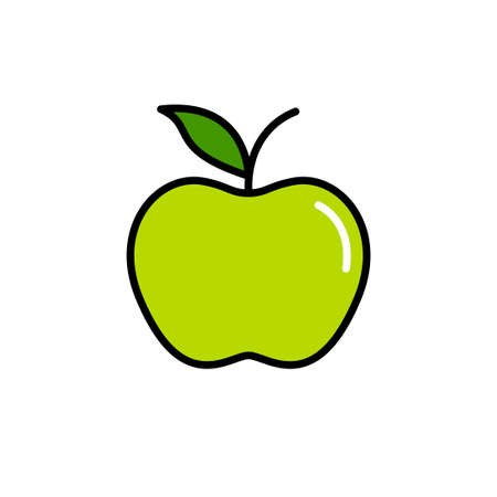 Green apple vector icon isolated on white background Illustration