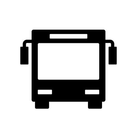 Black bus icon isolated on white.