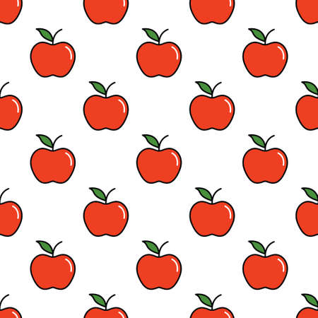 Pattern with thin line red apples