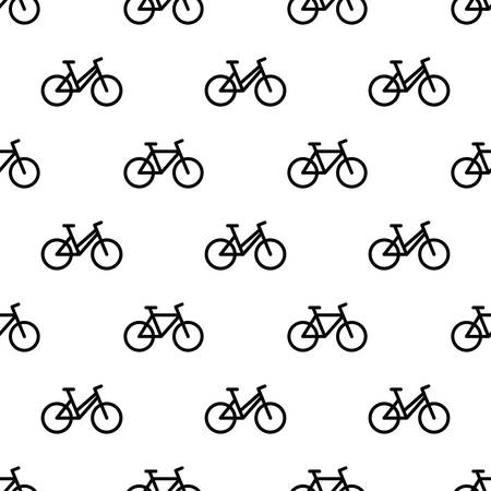 Seamless pattern with line bikes