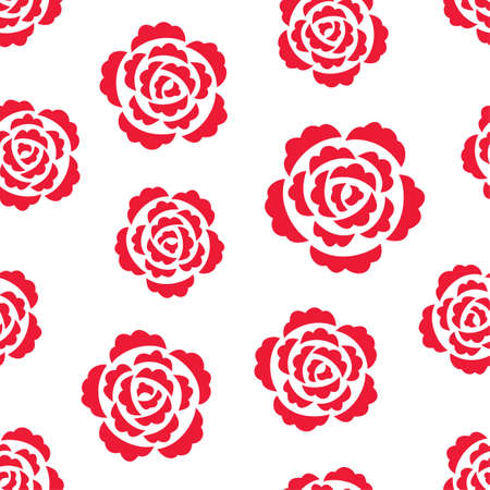Seamless pattern with red roses on white
