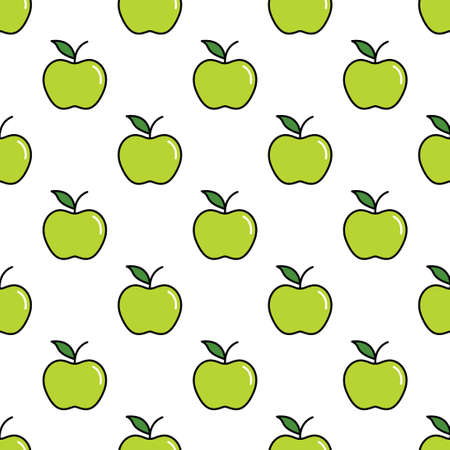 Pattern with thin line green apples
