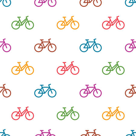 Seamless pattern with colorful bikes Illustration