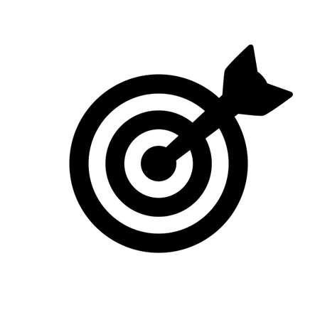 Black target icon isolated on white Illustration
