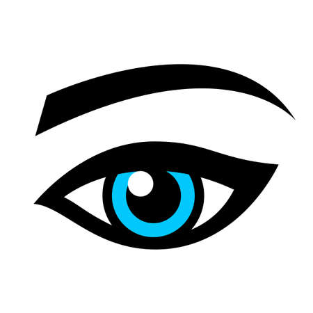 Blue female eye isolated on white Illustration