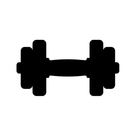 fitness equipment: Black dumbbell icon on white background.