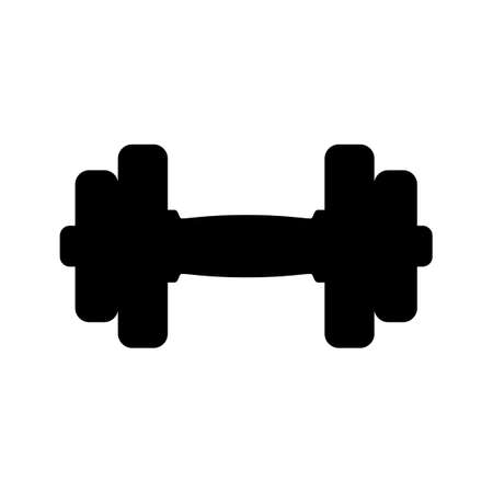 Black dumbbell icon on white background.