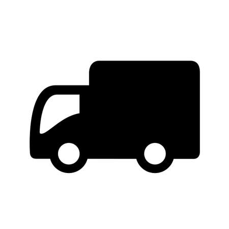 Vector truck icon isolated on white background illustration.