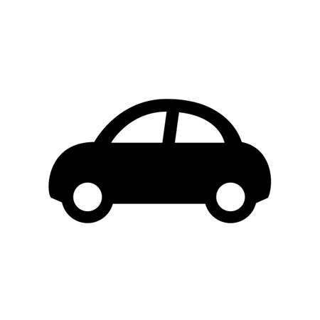 black car icon isolated on white Çizim