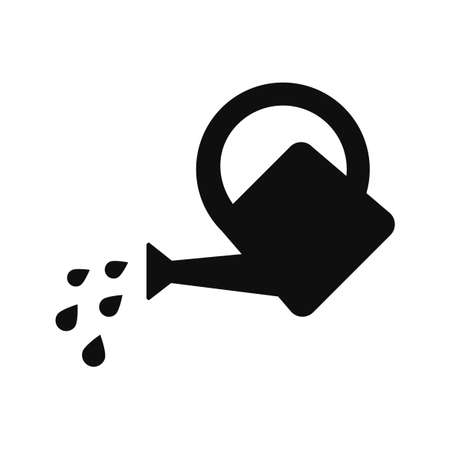 black watering can icon isolated on white Çizim