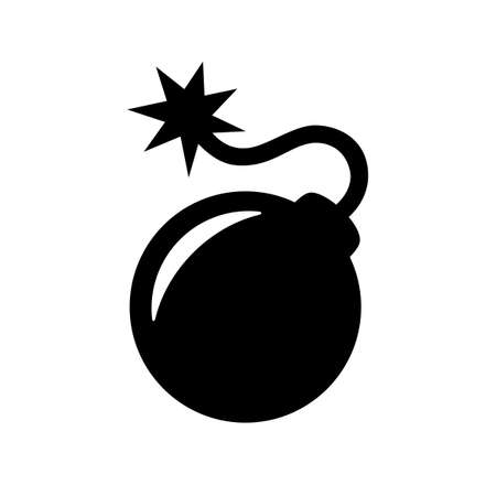black bomb icon isolated on white