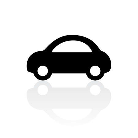 black car icon with reflection on white background