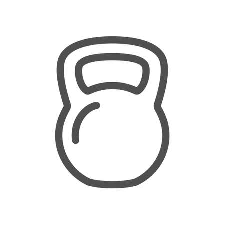 kettlebell line icon isolated on white background