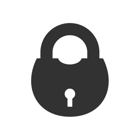 Old padLock icon isolated on white background