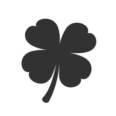Four leaf clover icon isolated on white Illustration
