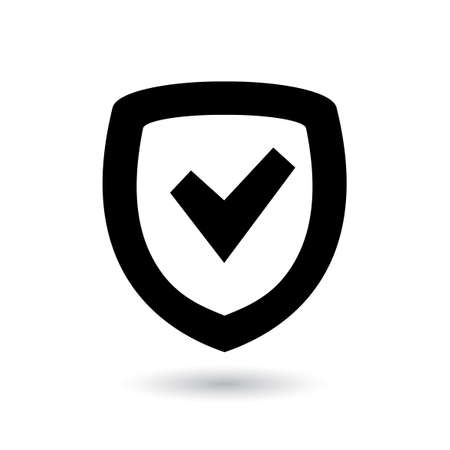 Security icon on white background. Shield with check mark  Protection symbol