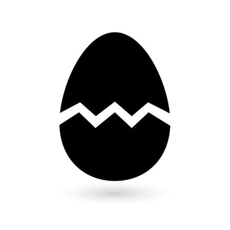 Broken egg icon with shadow on white background