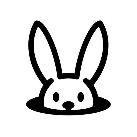 Bunny in hole. Easter rabbit icon isolated on white Illustration