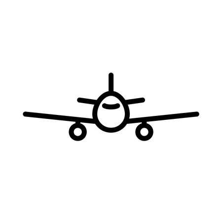 Line plane icon isolated on white background