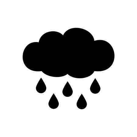 Rainy cloud icon isolated on white background
