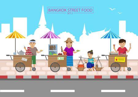 Bangkok street food very famous and easy to eat such as papaya salad, thai tea, pork balls grill. Illustration