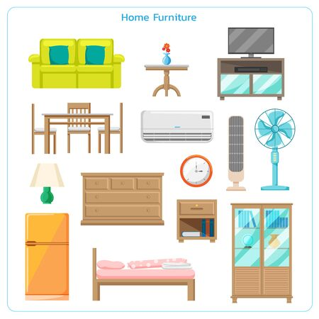 Vector set of home furniture design elements in flat style.Apartment inside.Cozy interior with sofa and tv.