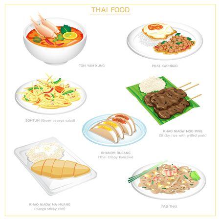 vector illustration icon set of Thai food, including Pad Thai, papaya salad, tom yam kung, phat kaphrao, mango sticky rice, roast pork, and thai crisy pancake. Isolated on white.