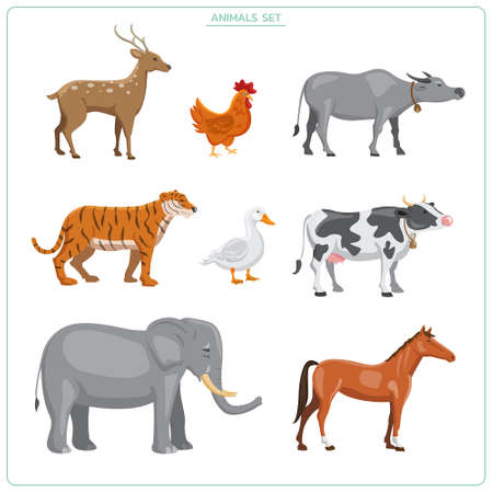 Set of animals. deer, tiger, elephant, buffalo, cow, horse, chicken, duck flat vectors isolated on white background. illustrations premium vector Illustration
